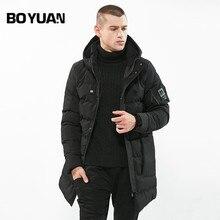 BOYUAN 2017 New Fashion Winter Jacket Men Hooded Parka Thick Warm Winter Male Jacket Solid Long Windbreaker Coats 3XL DSW-WZ84