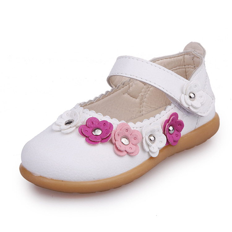 2017 autumn fashion white beef tendon soft bottom flowers pink leather shoes leather shoes for girls princess shoes for girls