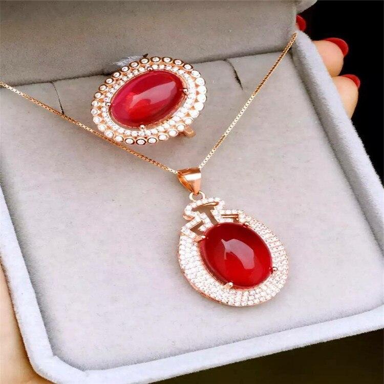 KJJEAXCMY boutique bijoux 925 pur argent incrusté naturel rouge jade medulla anneau + pendentif serti de diamants en forme d'or 18 k goddes