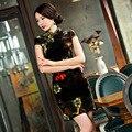 2017 Women Vintage Plus Size Chinese Short Traditional Cheongsam Dress Gold Velvet Short Sleeve Elegant Qipao Flower