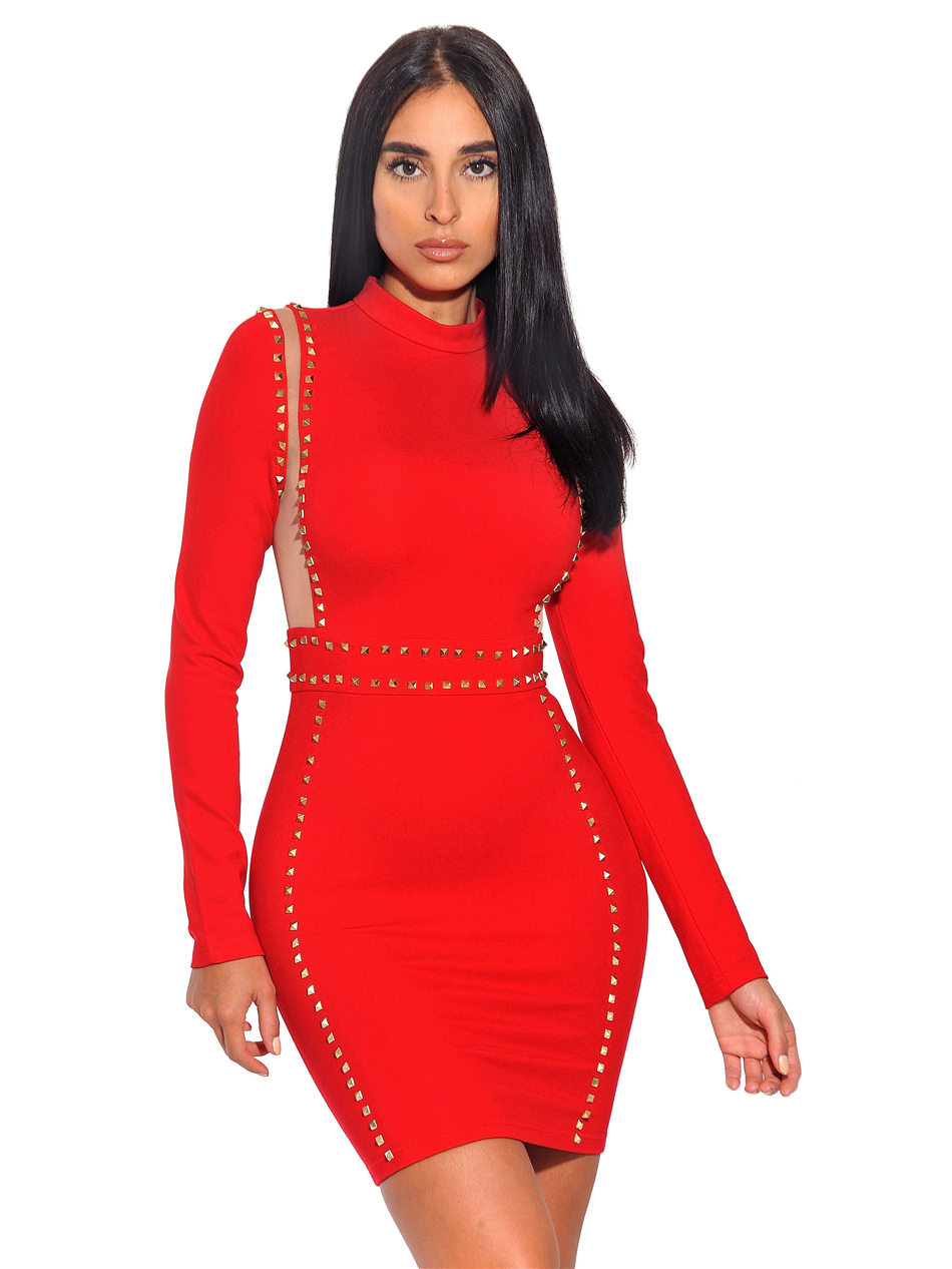 Pas Plein Manches 2019 Bandage Partie Fh12 Le Ornée Royaume Noir Mini rouge Or Kaki uni Clouté Maille Cher Robe Moulante Rouge wNnO8v0m