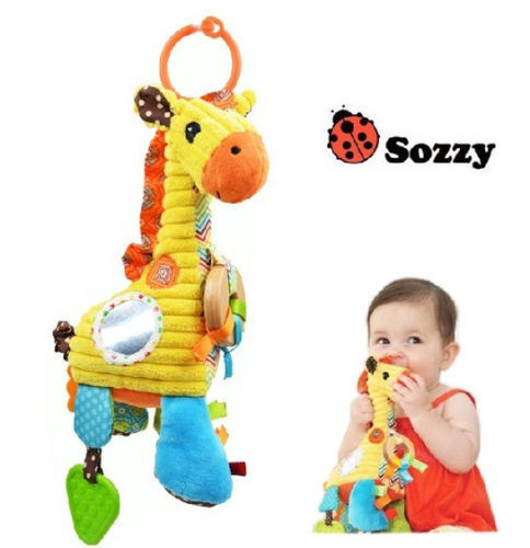 Candice guo plush toy stuffed doll sozzy giraffe baby rattle mobile wood ring multifunctional teether bed hang birthday gift 1pc
