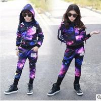 2017 Mùa Xuân Mùa Thu trẻ em quần áo set boy đầy sao Màu Tím sky in Trang Phục trẻ em thể thao phù hợp với Hip Hop harem pants & áo