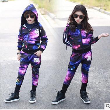 2017 Spring Autumn childrens clothing set boy Purple starry sky Print Costume kids sport suits Hip Hop harem pants & sweatshirt