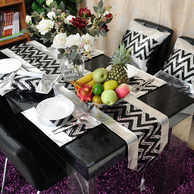 Black Silver PU Table Runner Place Mat Pillow Cover /modern Luxury Banquet  Decoration Wedding Table