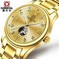 New Release Switzerland Carnival Famous Brand Watch Skeleton Watch Men Automatic Luxury Gold Wristwatch Stainless Steel Strap
