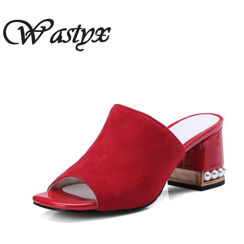 Wastyx new Fashion Sexy High Heels Summer Open Toes Genuine leather slipper Women Sandals New Arrival Wedges high heel sandals bfdadi 2018 new arrival hat genuine
