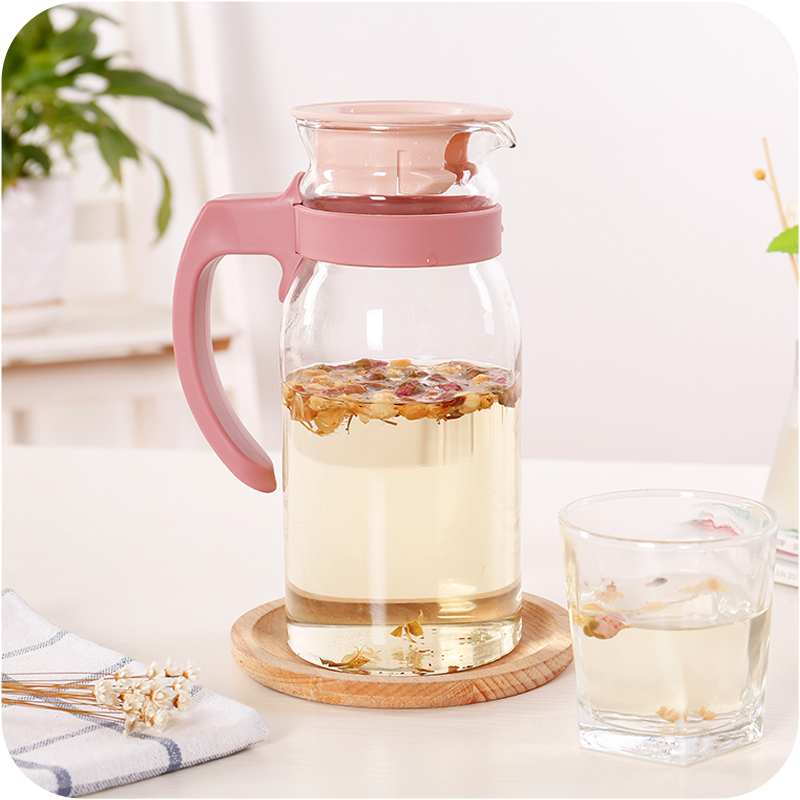 Large-capacity cold water cooler pot teapot transparent glass fruit juice drink pot home high temperature explosion-proof