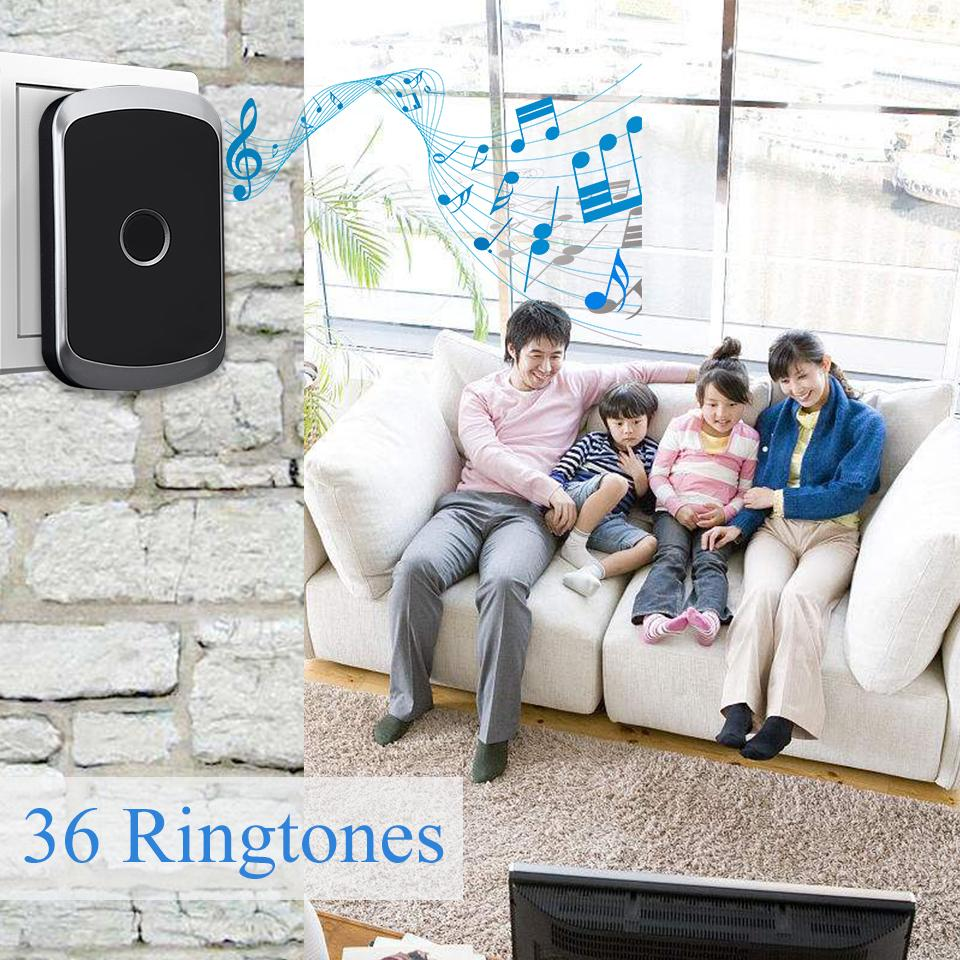 Image 5 - DAYTECH Wireless Doorbell Chime Kit Ring Door Bell Home Welcome Alert Waterproof Remote Control Push Button Receiver EU/US/UK-in Doorbell from Security & Protection