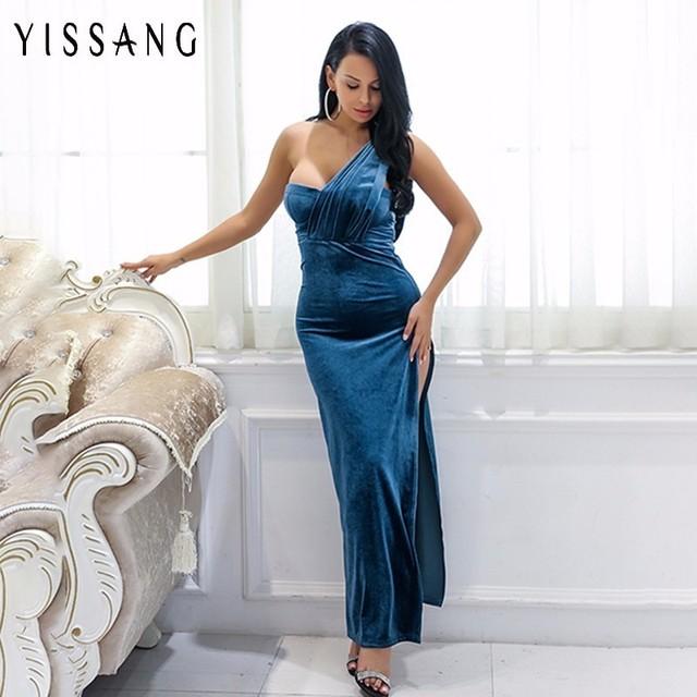 Yissang Velvet One Shoulder Elegant Maxi Dress Winter Party Wear Women Long  Strappy High Split Wrap c0a288b8fdc9
