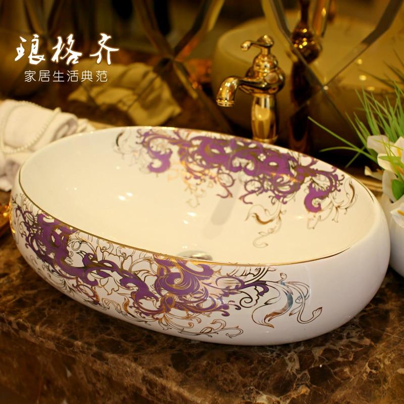 Jingde ceramic bathroom wash basin , art basin ellipse Gold PurpleJingde ceramic bathroom wash basin , art basin ellipse Gold Purple