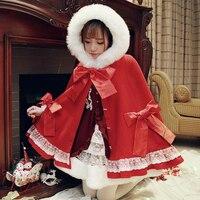 Princess sweet lolita coat Bobon21 Original Little red hat riding hood Christmas bow coat cloak fur collar winter coat C1312