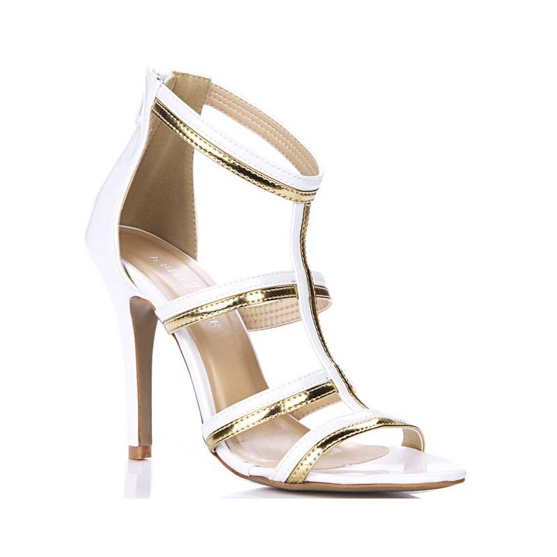 ФОТО hot fashion women gladiator summer cool boots white gold patchwork T-strap high heels sandals sexy woman pumps shoes sandalias
