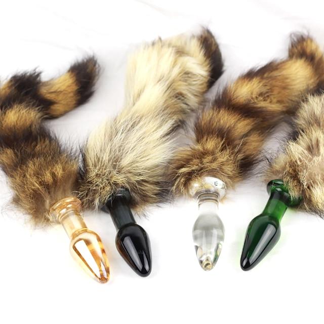 2015 Anal Toys Fox Tail Glas Analplug, erwachsene Sexy Kristall Poppers Rush, kugel Butt Plug Intime Besonderes Spielzeug für Paar