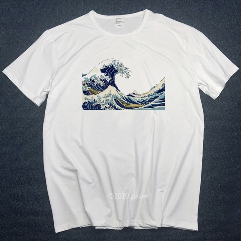 New Designer Tshirts Off The Great Wave Of English Bulldog T-shirt For Man White T Shirts Women Summer 2019 Plus Size Tshirt Top