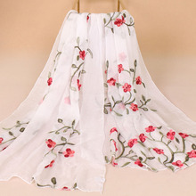 women embroidered chiffon scarfs florals beach sarong scarf stoles shawl pareo amice tippet opera capes 75x180cm soft material all over florals bardot chiffon romper