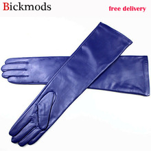 Long leather gloves female color sheepskin gloves thin section over elbow long velvet lining winter warm arm set free shipping
