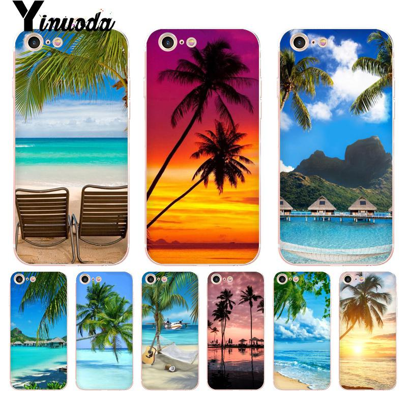 Yinuoda For Iphone 7 6 X Case Summer Beach Sunset Sea Palm Tree Transparent Phone Case For Iphone 8 7 6 6s Plus X Xs Xr Xsmax