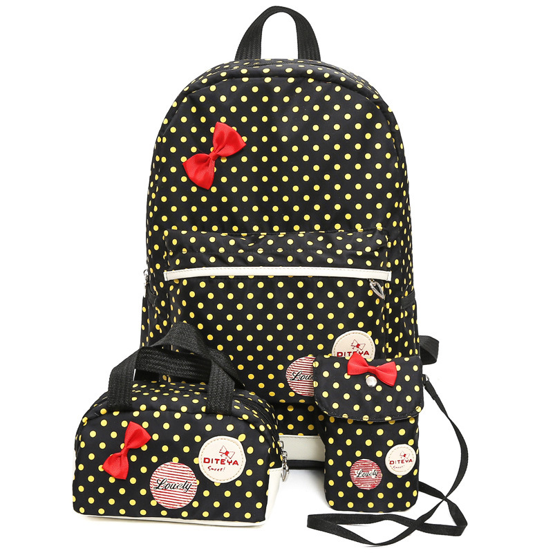 Kids Backpack School-Bag-Sets Print Primary-School Student Children Fashion New Bow Dot