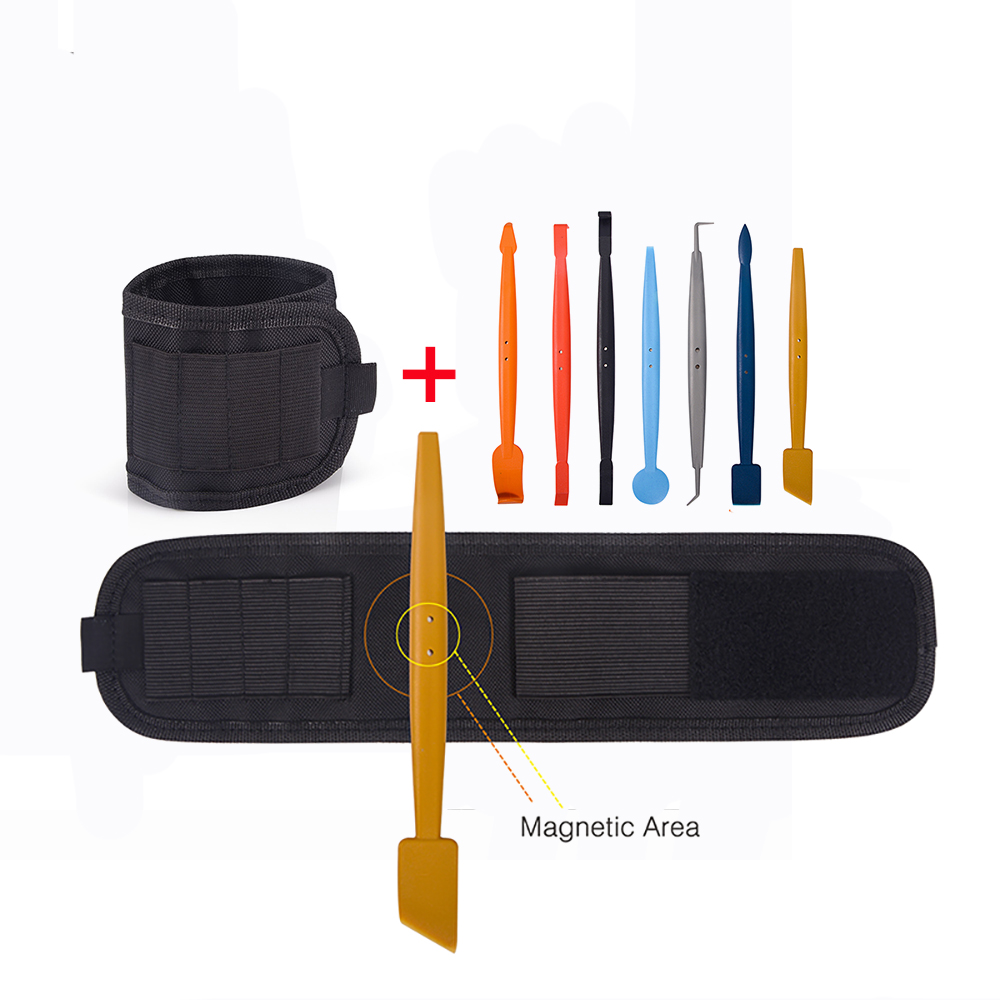 EHDIS magnétique housse de voiture en vinyle raclette grattoir Kit + aimant bracelet sac à outils Auto vinyle Film emballage autocollant fenêtre teinte outil
