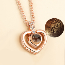Heart Charm 100 Language i Love You Projection Necklace Women Memory Jewelry Stainless Steel Chain Valentine Day Gift 2019 цены онлайн
