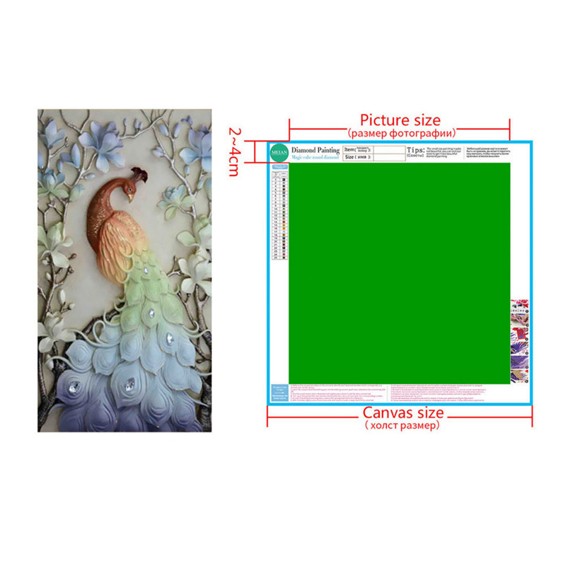 Meian Special Shaped Diamond Embroidery Animal Peacock 5D Diamond Painting Cross Stitch 3D Diamond Mosaic Decoration Christmas in Diamond Painting Cross Stitch from Home Garden