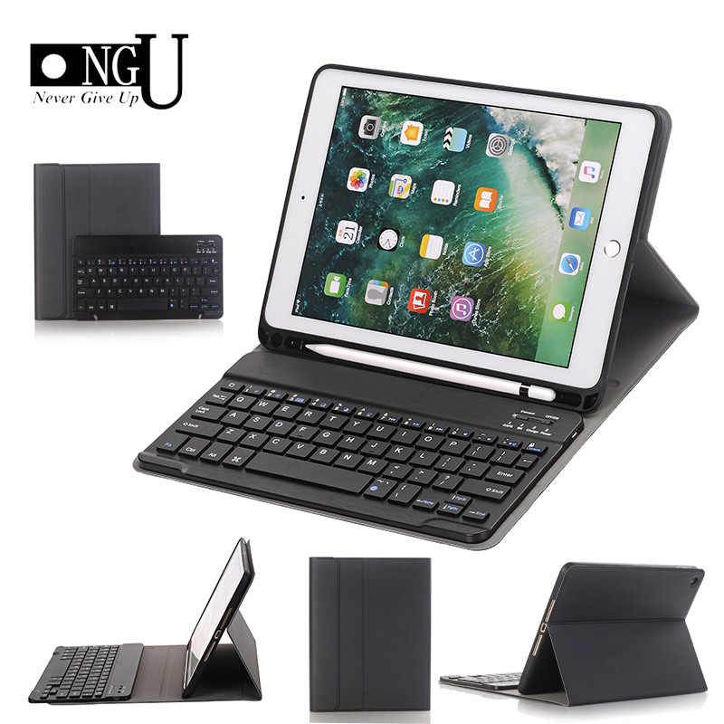 Bluetooth Keyboard Case For IPad 9.7 2018 Pencil Holder Smart Leather Cover For IPad 9.7 2017/Pro 9.7 Air2/Air Case For Ipad 5 6