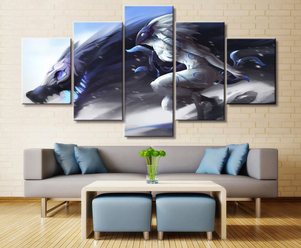 5 Panel LOL League of Legends Kindred Game Canvas Printed Painting For Living Room Wall Art Decor HD Picture Artworks Poster 1
