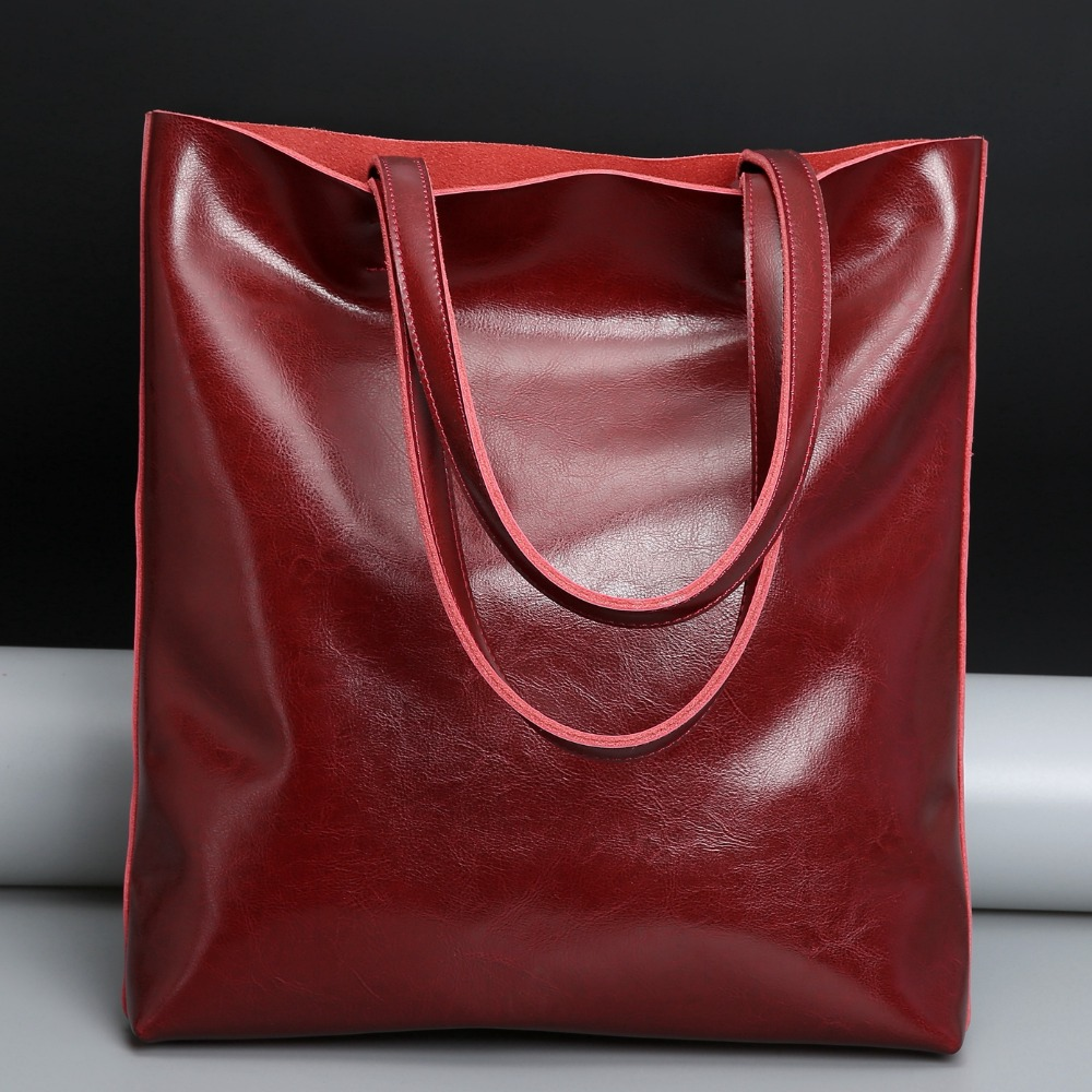 Luxury Ladies Genuine Leather Handbag Fashion Soft Women Cow Leather Bag Big Capacity Shopper Bag Elegant