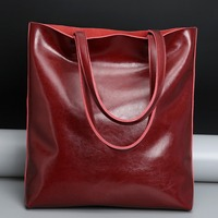Luxury Ladies Genuine Leather Handbag Fashion Soft Women Cow Leather Bag Big Capacity Shopper Bag Elegant Simple Brand Designer