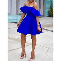 Women Off Shoulder Sexy Dress Elegant Plus Size Blue Party Backless Evening Ruffle Mini Stylish 2019 A Line Summer Short Dresses