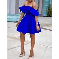Women Off Shoulder Sexy Dress Elegant Plus Size Blue Party Backless Evening Ruffle Mini Stylish 2019 A Line Summer Short Dresses