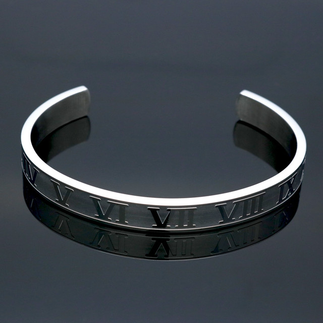Фото браслет из титановой нержавеющей стали с римскими цифрами браслет