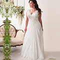 Elegant Chiffon Plus Size Wedding Dresses with Appliques Cap Sleeve Summer Beach Bridal Gowns weddingdress robe blanche mariage