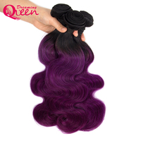 Dreaming Queen Ombre Brazilian Hair Weaving 2 Tone 1B Purple Wavy Human Hair 3Bundles and 4*4 Closure Pre colored Remy Extension