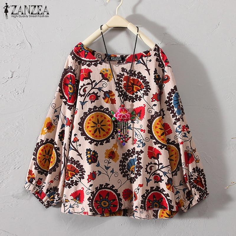 ZANZEA 2019 Outono Blusa De Linho Mulheres Plus Size Floral Impresso Camisa Chemise Trabalho Feminino Blusa Senhoras Blusas Casual Feminina Top