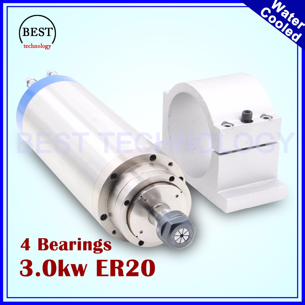3kw ER20 water cooled spindle motor 4 bearings 3.2kw water cooling 4bearings for wood stone working 100mm spindle Mount bracket cs water cooled 3kw spindle motor sets matching 3kw inverter 1set er20 100mm mount bracket pump
