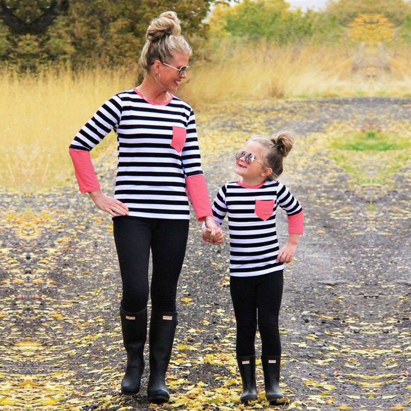 Family matching outfits mother kids Spliced long sleeve T-sh