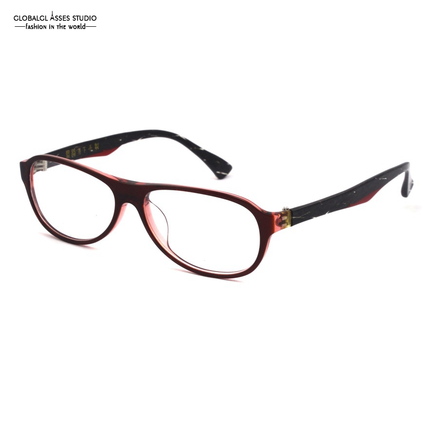 ea1952bc144d Aviator Handmade Acetate Glasses Frame Women Lady Wine Color Eyewear Unique  Black Stripe Temple Spectacle Eyeglass CQ 107 C4-in Eyewear Frames from  Women s ...