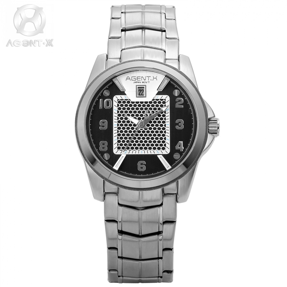 AGENTX Luxury Brand Men Quartz Casual Metal Montre Marque Army Military Sports New Watch Watches Male Clock Gift Box / AGX139 weide new men quartz casual watch army military sports watch waterproof back light men watches alarm clock multiple time zone