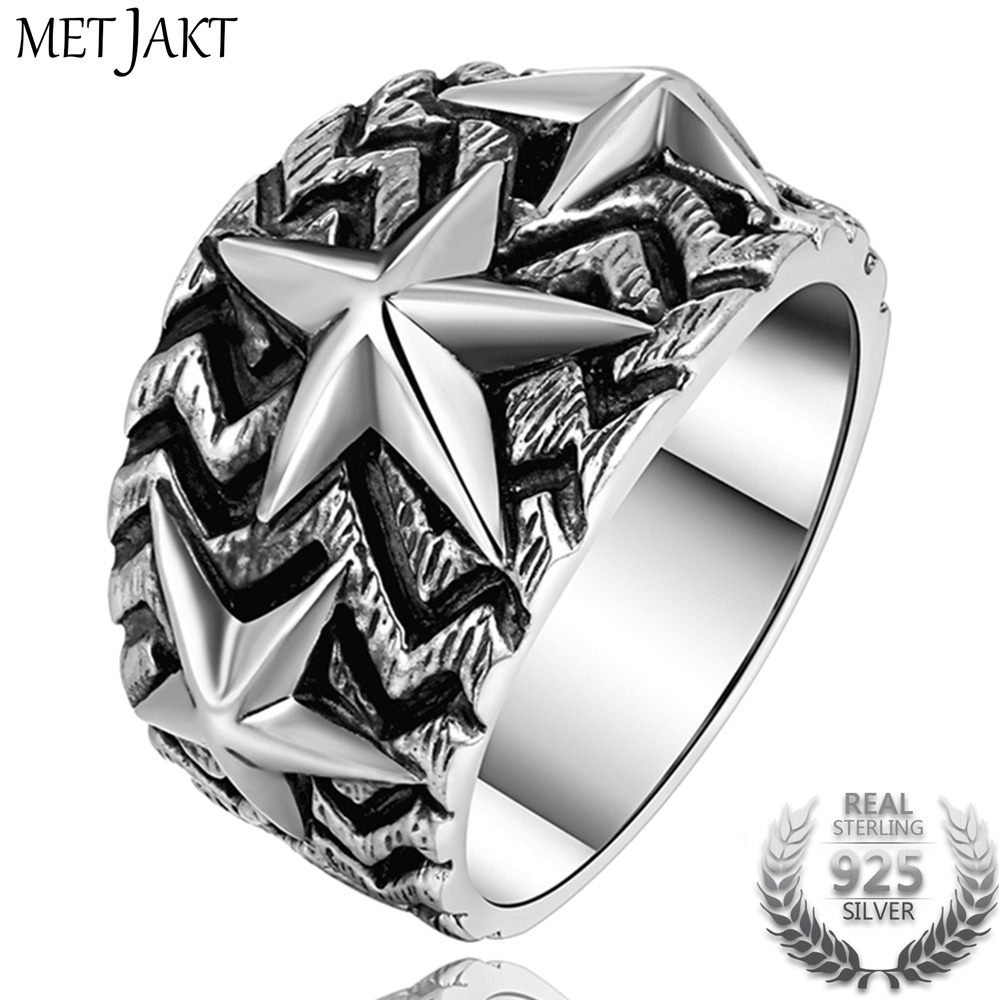 MetJakt Punk Rock Star Ring Solid 925 Sterling Silver Personality Five-pointed Star for Men Vintage Thai Silver Jewelry punk style silver plated etched star circle pendnat necklace for men