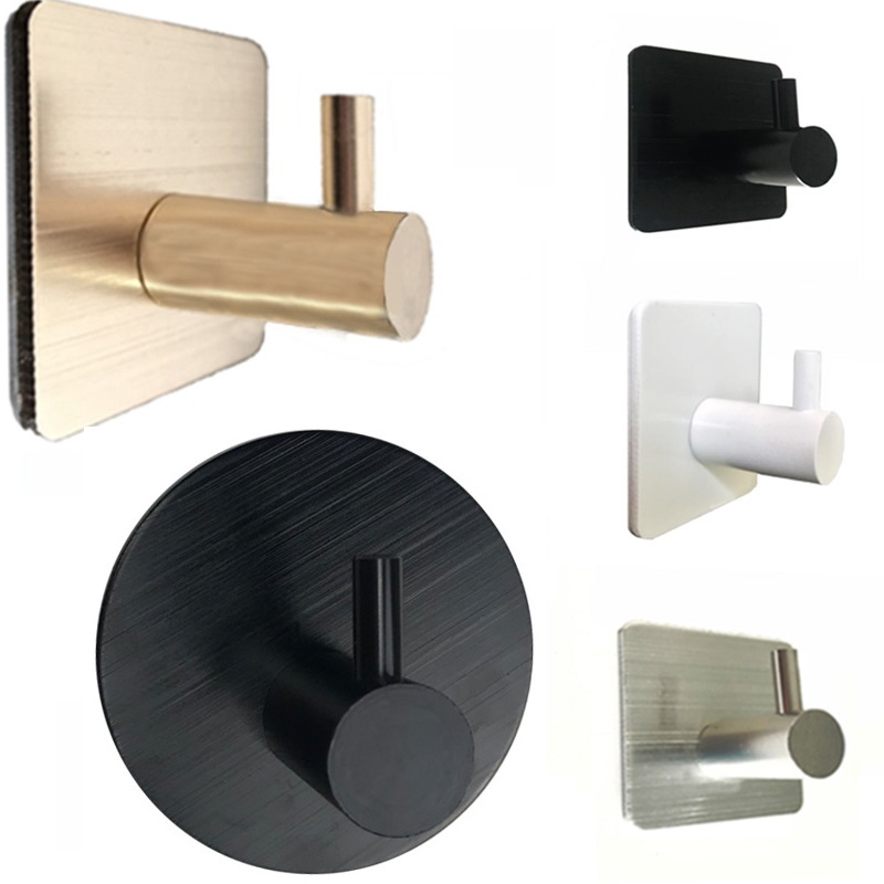 Free Nail Solid Aluminum Robe Hook Heavy Duty Wall Mount Towel Hook Hanger Self Adhesive Home Kitchen Wall Door Bathroom Hook