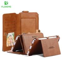 FLOVEME Retro Leather Wallet Mobile Phone Case For IPhone 5 5S SE 6 6S 7 Plus