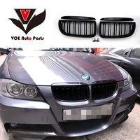 2005 2008 4PCS/Set Kidney ABS Plastic Gloss Black E90 2 line Racing Grill Grille for BMW E90 3 Series(not fit for E90 M3)