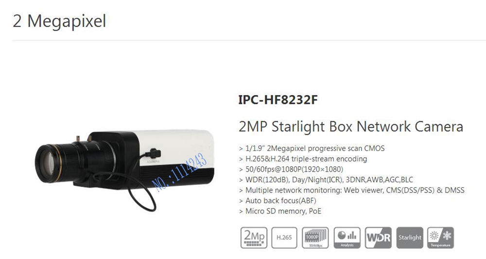 Free Shipping DAHUA CCTV Security IP Camera 2MP Starlight Box Network Camera POE H.265 H.264 without Logo IPC-HF8232F free shipping dahua cctv camera 4k 8mp wdr ir mini bullet network camera ip67 with poe without logo ipc hfw4831e se