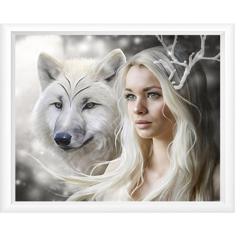 LMHY Full Round Diamond Embroidery Girl Wolf 5D Diamond Painting Cross Stitch 3D Diamond Mosaic Decoration