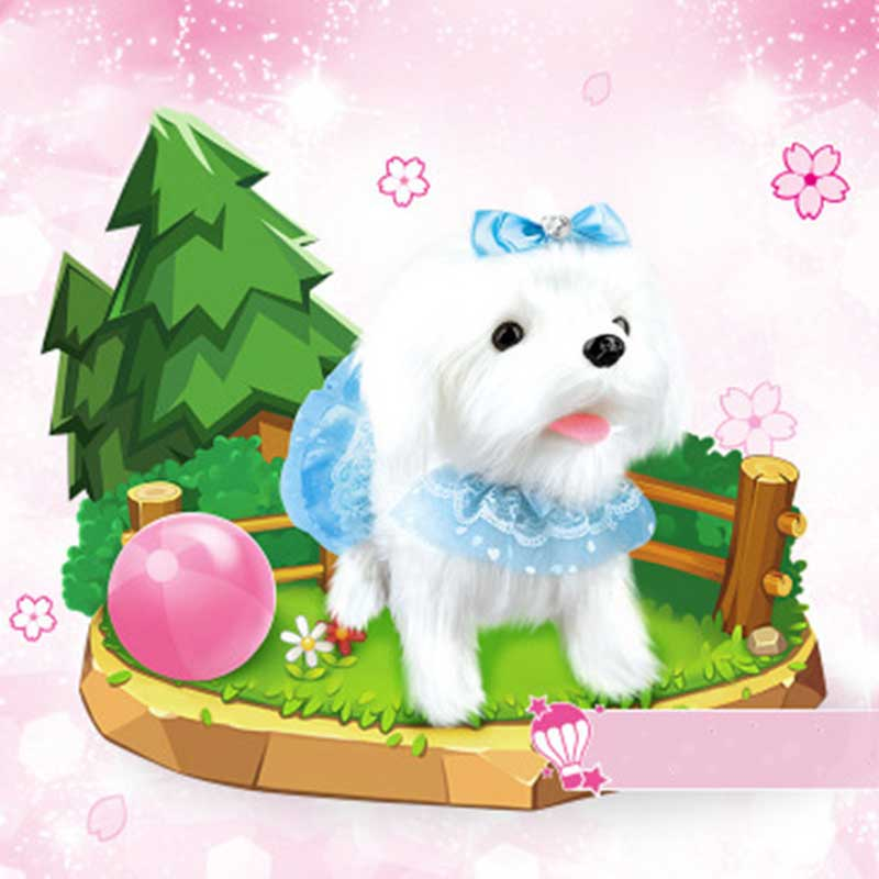Perro Robot electrónico juguetes para perros de peluche cachorro mascota paseo corteza princesa correa de peluche controlado por línea de juguetes para niños niñas regalos - 5