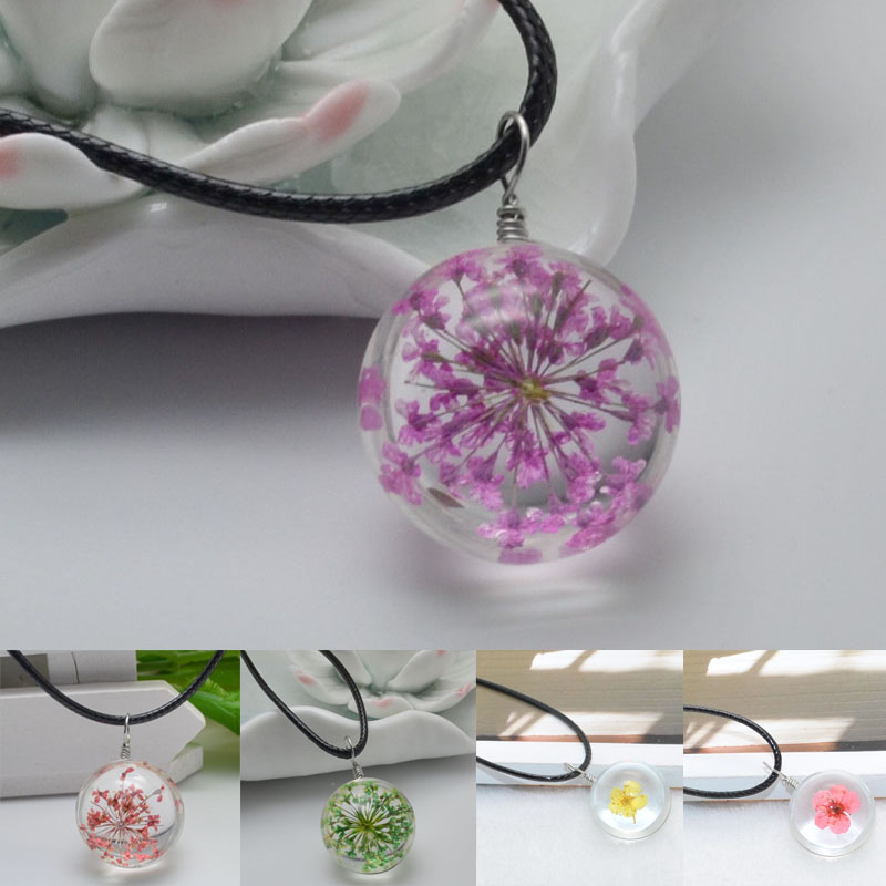 buyworldonline Store Fashion 1 Pc Girls Crystal Glass Ball Flower Pendant Long Strip Leather Chain Necklace Jewelry Gift