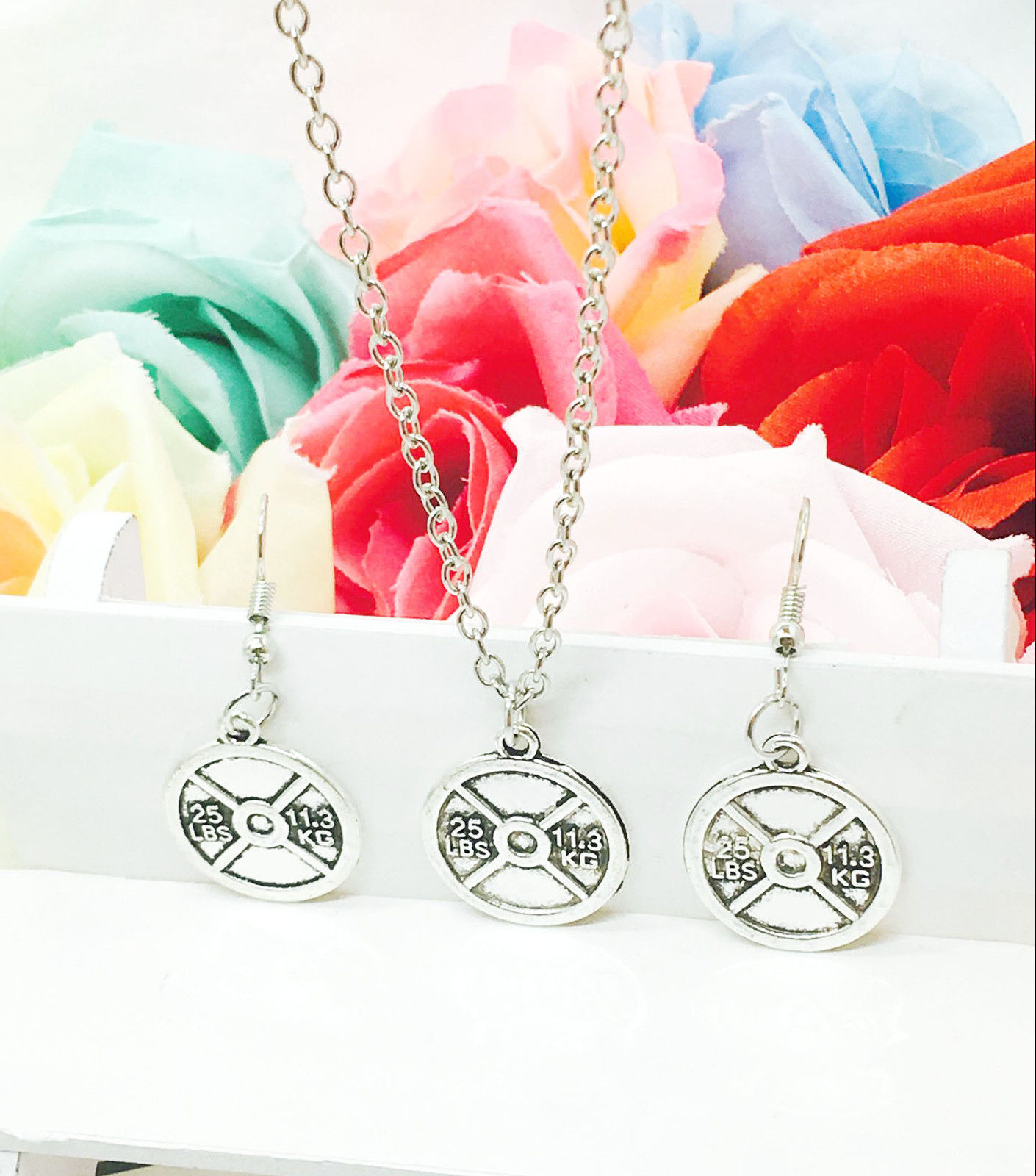 Hot Antique Silver 25 LBS 11.3KG Fitness Weightlifting Charms Pendant Necklace Earrings Set Creative Women Jewelry Holiday Gift