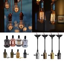 E27 Retro Antique Edison Lamp Base 4 Colors Side pull Switch/Side Twist Switch Vintage holder Aluminum/Brass Holder